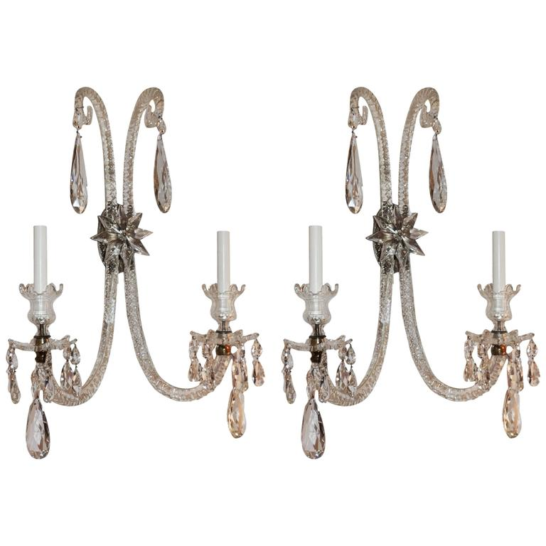 Palatial Antique Large Pair Of Elegant Cut Crystal & Bronze Two-Arm Star Sconces