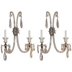 Palatial Antique Large Pair Of Elegant Cut Crystal & Bronze Two-Arm Star Sconces