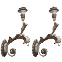 Pair of Painted and Gilded Italian 18th Century Appliques