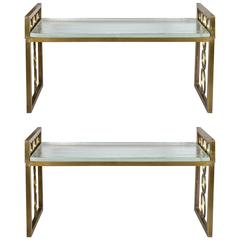 Pair of Benches in Metal and a Slab in Murano Glass