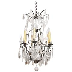 19th Century French Louis XV Style Crystal and Iron Chandelier