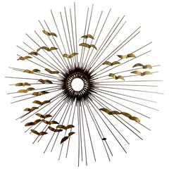 Stricking Large Sunburst Nails and Brass Welded Wall Hanging by Degroot