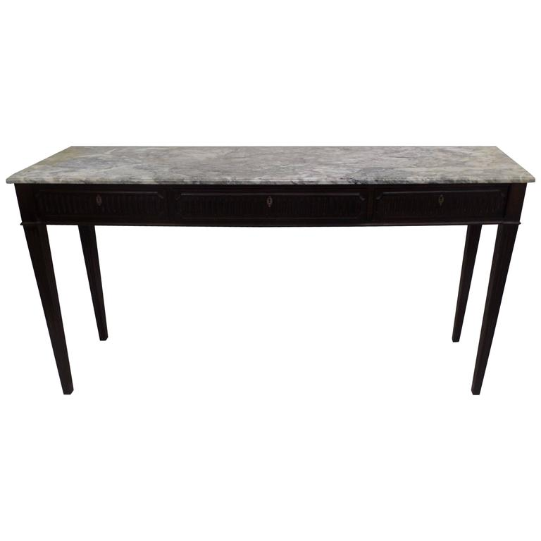 Large Italian Mid-Century Modern Wood & Marble Console Table, Paolo Buffa