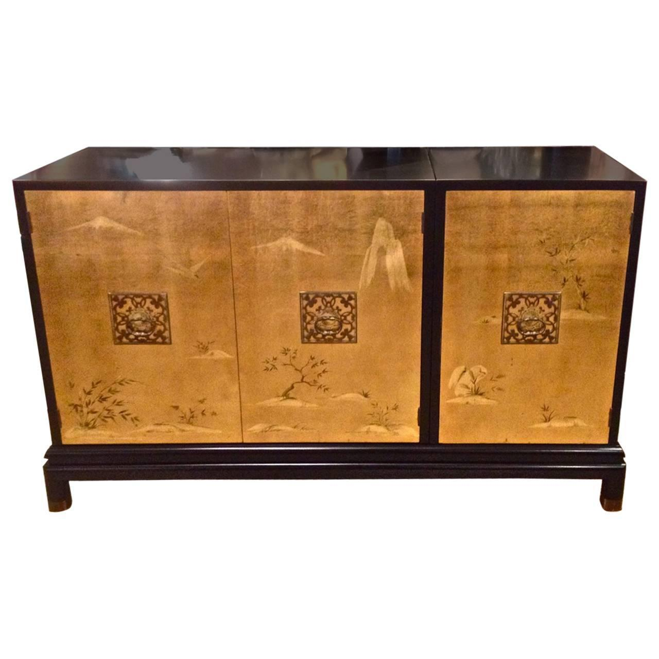 Renzo Rutili For Johnson Furniture In Gold Leaf And Black