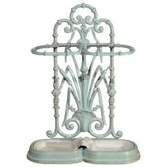 Enameled Iron Umbrella Stand Circa 1930 with Frog and Rush Motifs