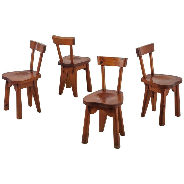 set of four pine cagne style dining chairs 1950s at 1stdibs