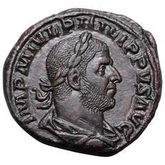 1000th Anniversary of Rome Ancient Roman Sestertius Coin, 244 AD
