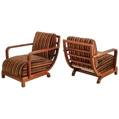 Pair of Large Art Deco Mahogany and Velour Lounge Chairs, Sweden, 1930s