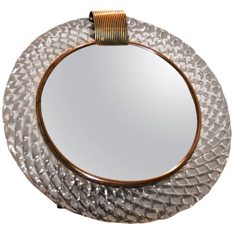 Murano Glass Circular Mirror Brass U0027Claspu0027 ...