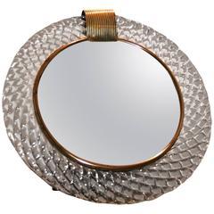 Murano Glass Circular Mirror Brass 'Clasp'