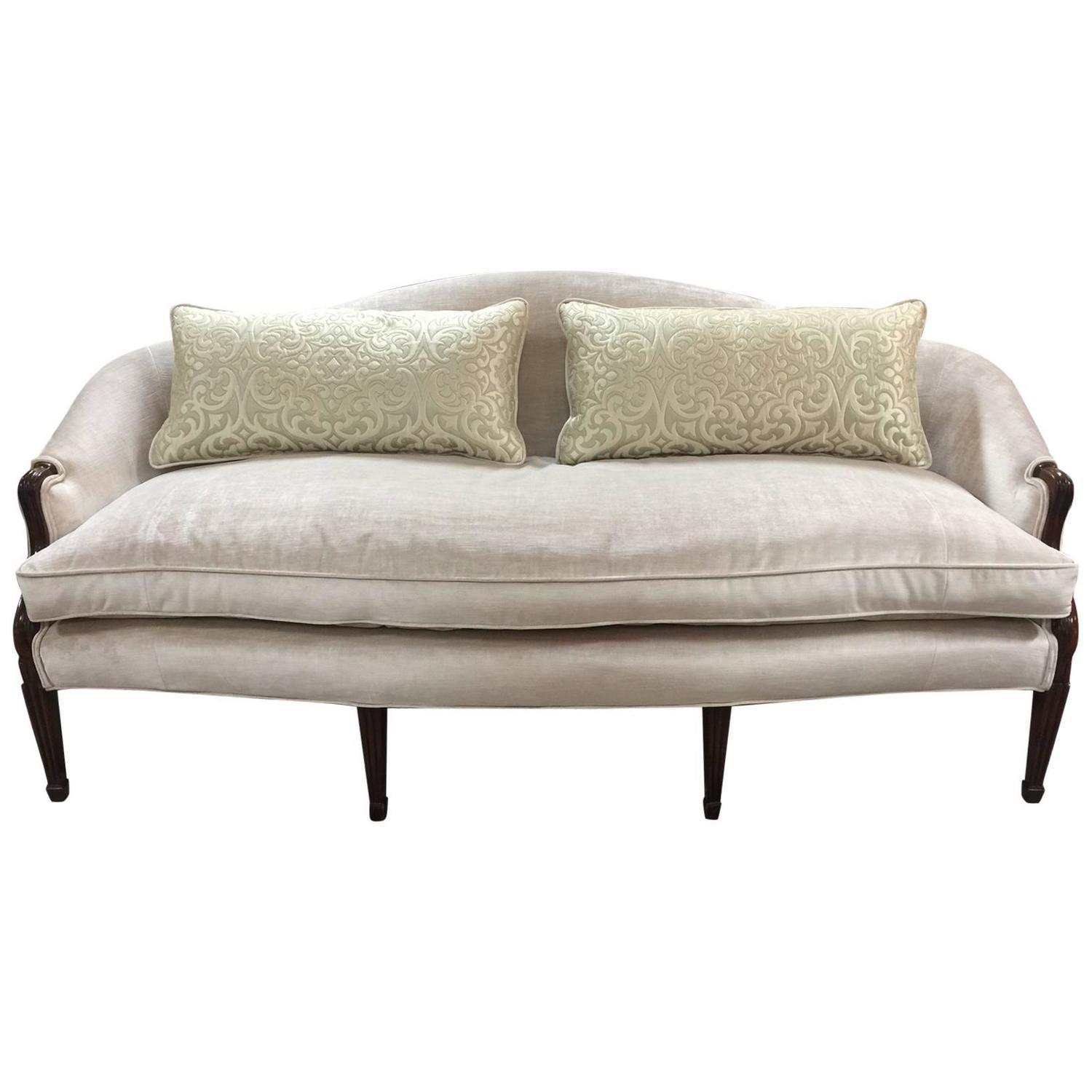 French Style Sofa In Champagne Velvet At 1stdibs