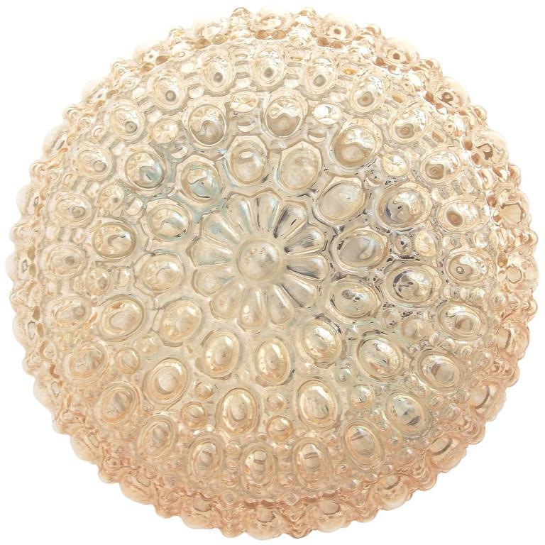 Limburg Flush Mount Light Sconce, Amber Tone Bubble Glass, 1960s
