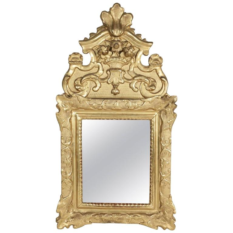 French Regence Period, Hand-Carved Giltwood Front-Top Mirror For Sale