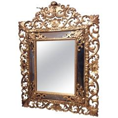Italian 19th Century Sculpted Giltwood Mirror with Partitions