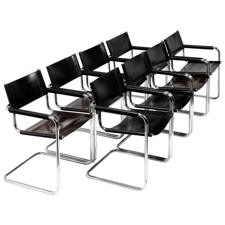 marcel breuer black leather and tubular chrome steel