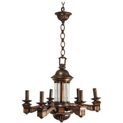 American Bronze and Glass Neoclassical Chandelier