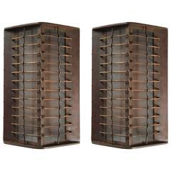 Pair of Slim Bronze Exterior Industrial Sconces