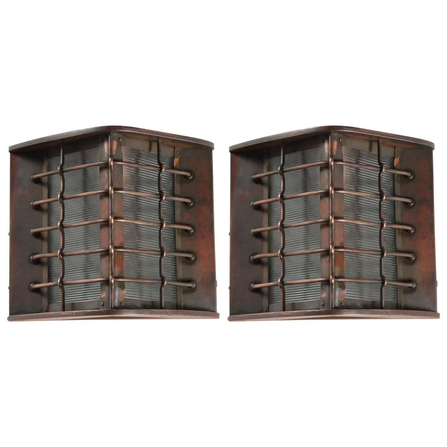 Pair of Bronze Exterior Industrial Sconces at 1stdibs
