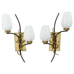Pair of Mid-Century French Double Sconces