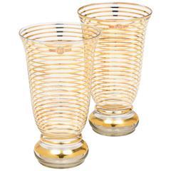 Pair of French Art Deco Gilt Stripe Crystal Vases