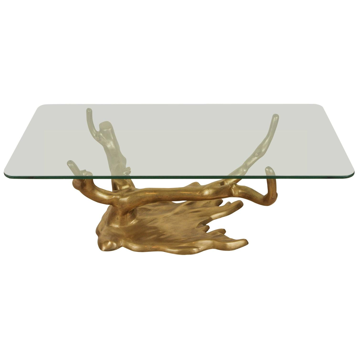 Cast Brass Tree Coffee Table With Glass Top By Willy Daro At 1stdibs
