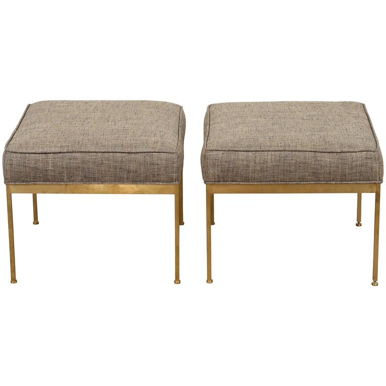 Square Brass Ottoman by Lawson-Fenning