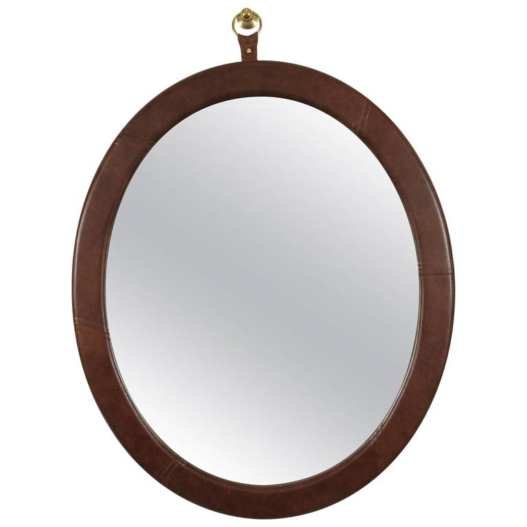 Leather Oval Mirror by Jason Koharik for Collected by  1