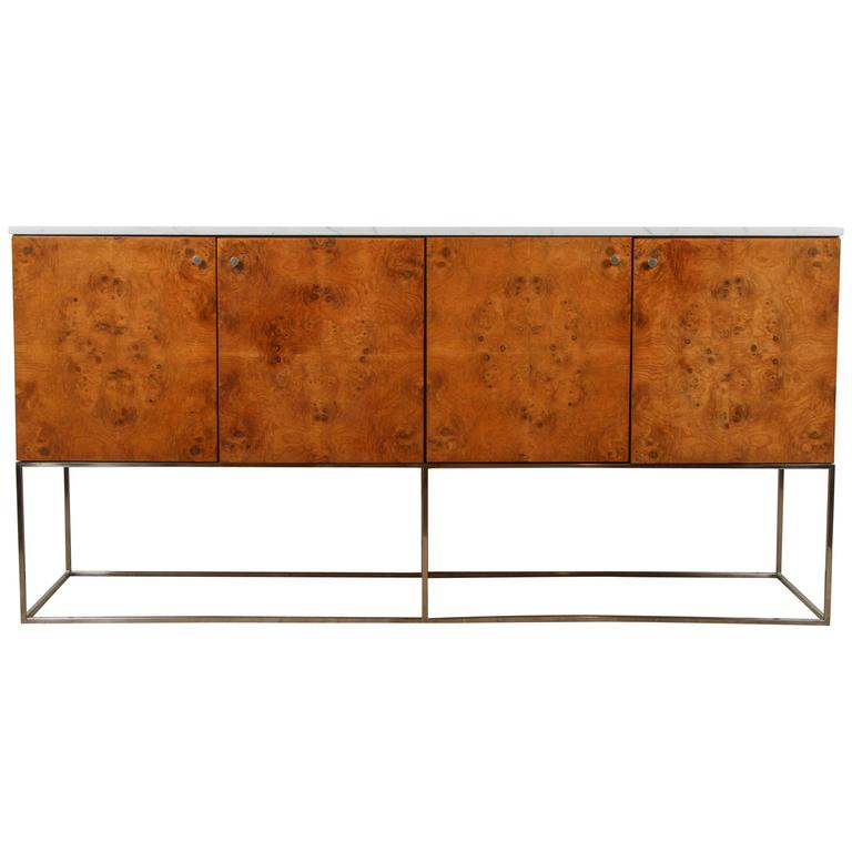 Burl wood and marble cabinet by milo baughman at 1stdibs for Burl wood kitchen cabinets