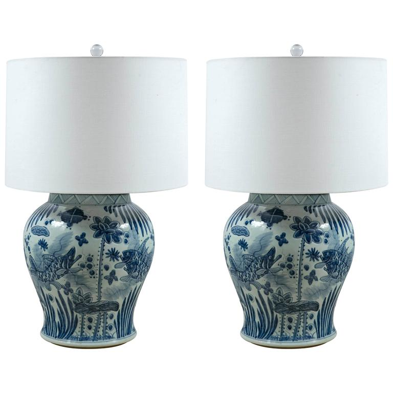 Pair Of Mid Century Blue And White Ginger Jar Lamps At 1stdibs