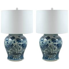 Pair of Mid-Century Blue and White Ginger Jar Lamps