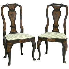 Pair of Painted Queen Ann Style Side Chairs