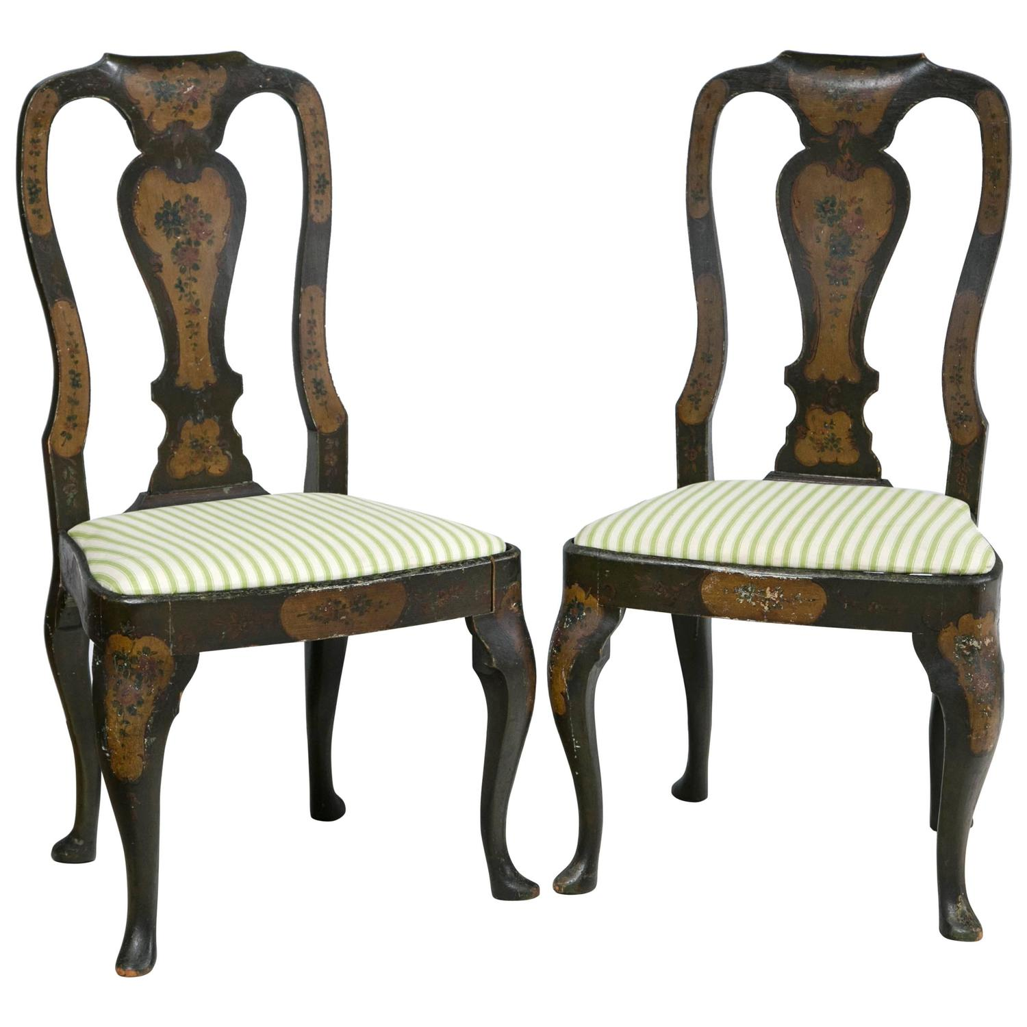 Pair Of Painted Queen Ann Style Side Chairs For Sale At 1stdibs