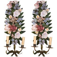 Italian Tole Flower Wall Sconces