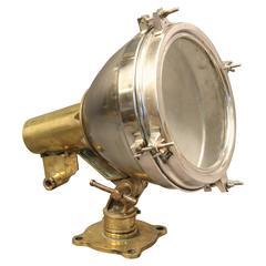 Authentic Ship's Aluminium and Brass Spotlight