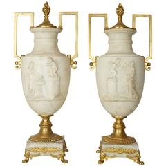 Pair of Italian White Marble and Bronze Neoclassical Urn Lamps