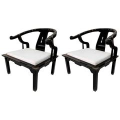 Pair of Hollywood Regency Asian Modern Black Lacquer Horseshoe Lounge Chairs