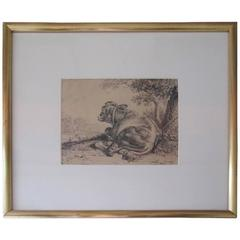 19th Century European Pen and Ink, Cow Reclining Beneath a Tree
