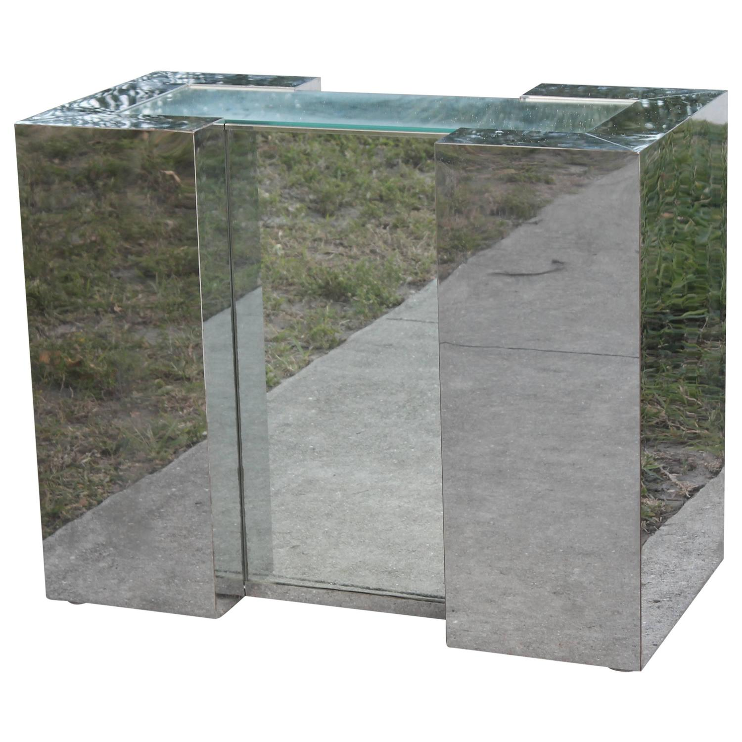 Mirrored Chrome Desk Console Or Dining Table Base In The Style Of Milo  Baughman