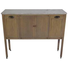Marble-Topped Bar or Console Cabinet