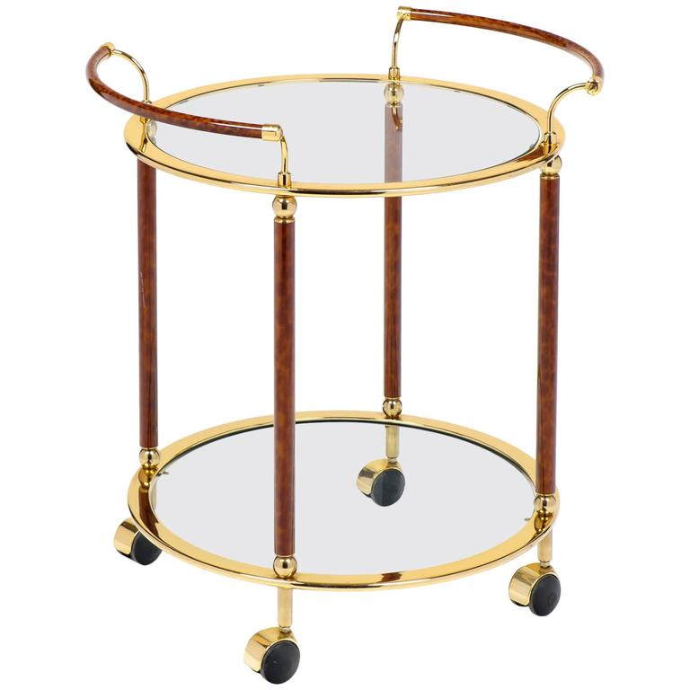 Vintage French Round Brass Glass Top Bar Cart By Maison