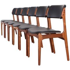 Set of Six Dining Chairs Model 49 by Erik Buch for Oddense Maskinsinedkeri