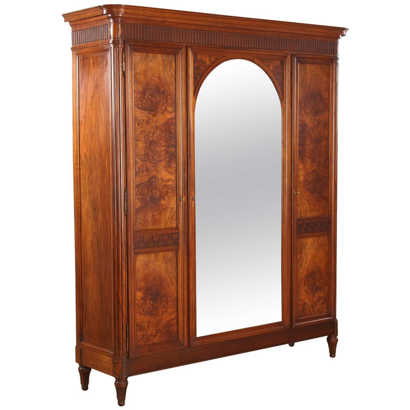 french louis xvi style walnut armoire 1930s for sale at. Black Bedroom Furniture Sets. Home Design Ideas
