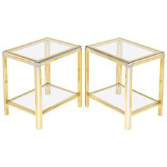 Pair of Vintage French Brass and Chrome Glass Top Side Tables