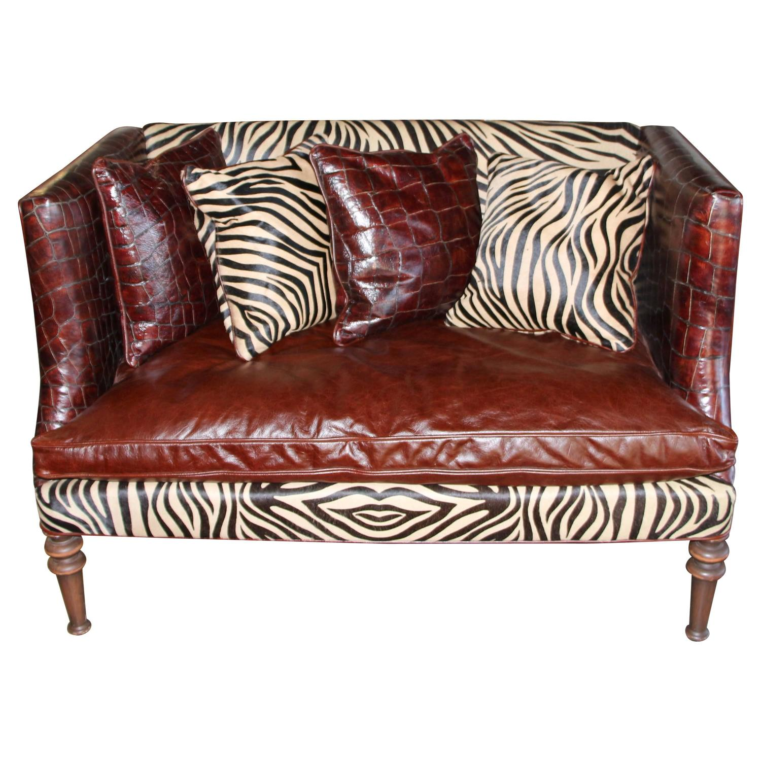 Old Hickory Tannery Croc Grained Zebra Pattern Horsehide Loveseat
