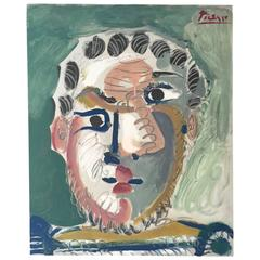 """After Pablo Picasso, """"Tete D'homme Barbu,"""" 1967, Lithograph in Colors, Ed. 200"""