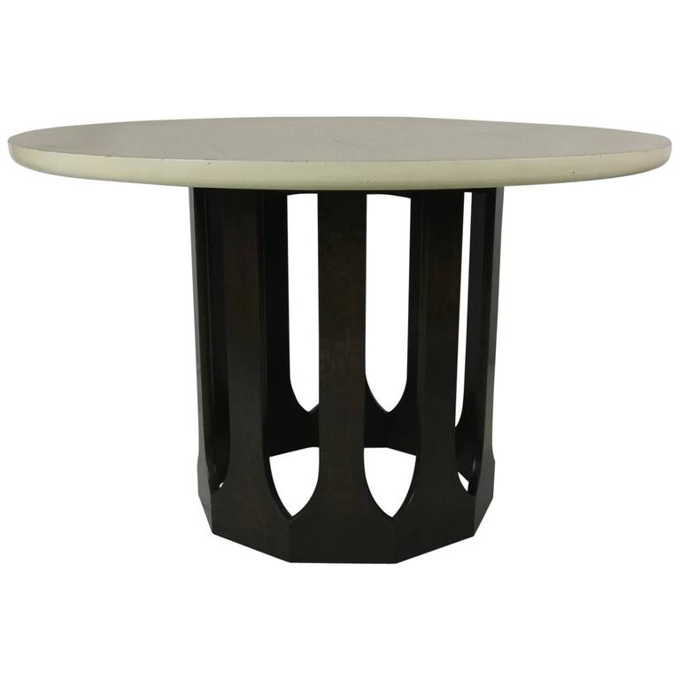 Mahogany Dining Table with Travertine Top by Harvey Probber