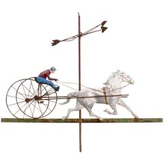 American Horse and Sulky Weathervane, Copper and Cast Iron