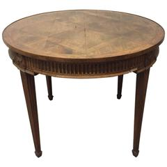 French Parquetry Top Walnut Center Table