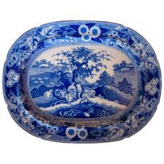 Oversize Staffordshire Blue/White Transferware 'Piping Shepherd' Platter