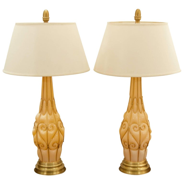 Large Pair of Coral Tone Murano Lamps with Brass Details by Marbro